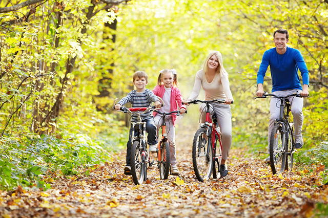 Family riding bikes in the woods