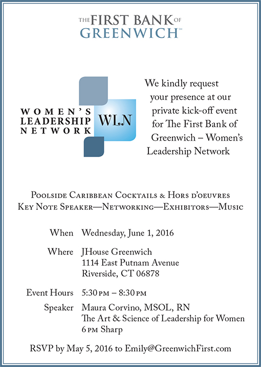 Flyer detailing the date/time/location and overview of the 2016 Women's Leadership Network event