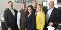 From left, Chief Lending Officer Evan Corsello, Chief Operating Officer Mark McMillen, Universal Banker Amy Sellers, Branch Manager Stephen Tedesco, Assistant Vice President Emily Newcamp and President and CEO Frank Gaudio at the First Bank of Greenwich branch in Stamford.