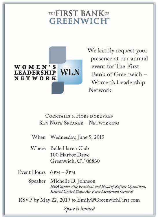 Flyer detailing the date/time/location and overview of the 2019 Women's Leadership Network event