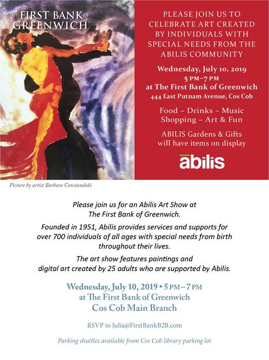 The flyer advertising the ABILIS Art show on July 10th 2019 (Information is all listed below in text)