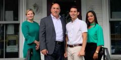 First Bank of Greenwich Vice President and Retail Banking Manager, Emily Newcamp; FBOG President and CEO, Frank Gaudio; owner of Ada's, Michael Pietrafeso; FBOG Assistant Branch Manager, Amy Huertas.