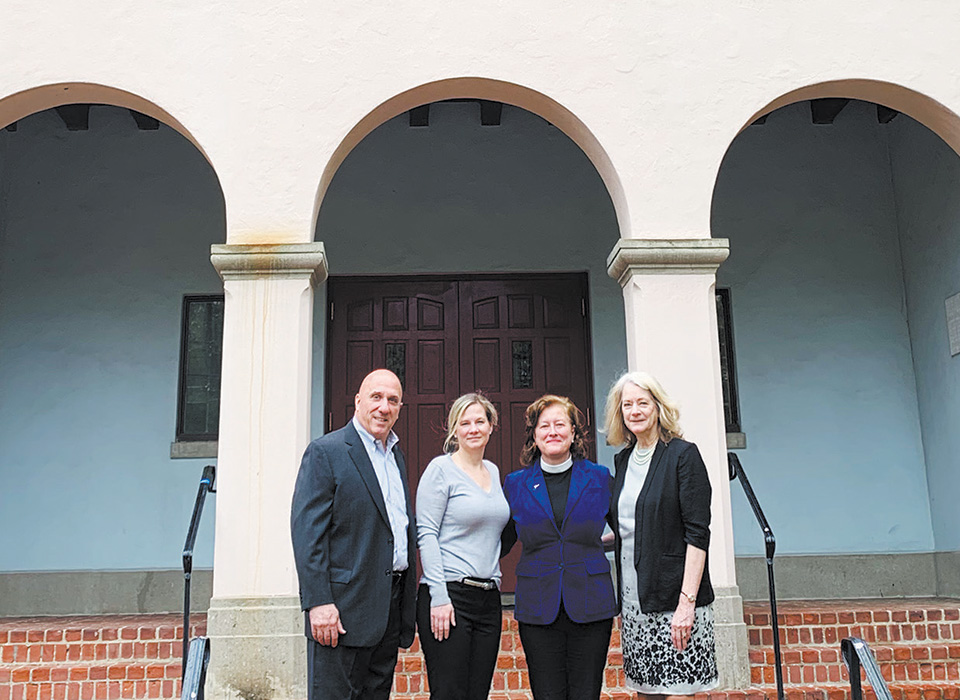 First Bank of Greenwich President and CEO Frank Gaudio; Vice President and Retail Banking Manager, Emily Newcamp; Rev. Margaret Allred Finnerud; Assistant VP, Branch Manager, Janice Stearns.