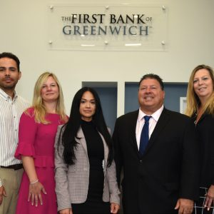 Photo of individuals from the July 25th event at The First Bank of Greenwich, Port Chester branch