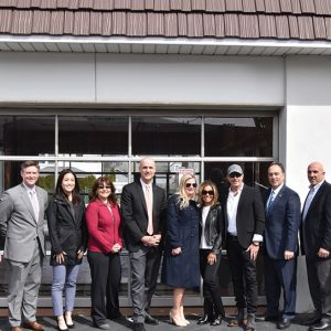 State Reps Fred Camillo and Stephen Meskers, First Bank of Greenwich representatives including President Frank Gaudio, Vice Presidents Emily Newcamp and Evan Corsello, and First Selectman Peter Tesei join Dominic Franchella, President of Stamford Ford Lincoln, his wife Michele, and Lincoln national representatives at the ground-breaking of the new Lincoln of Greenwich boutique dealership.