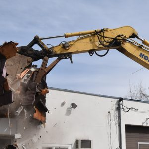 Sledgehammer demolishing the building at 366 West Putnam Avenue in Greenwich